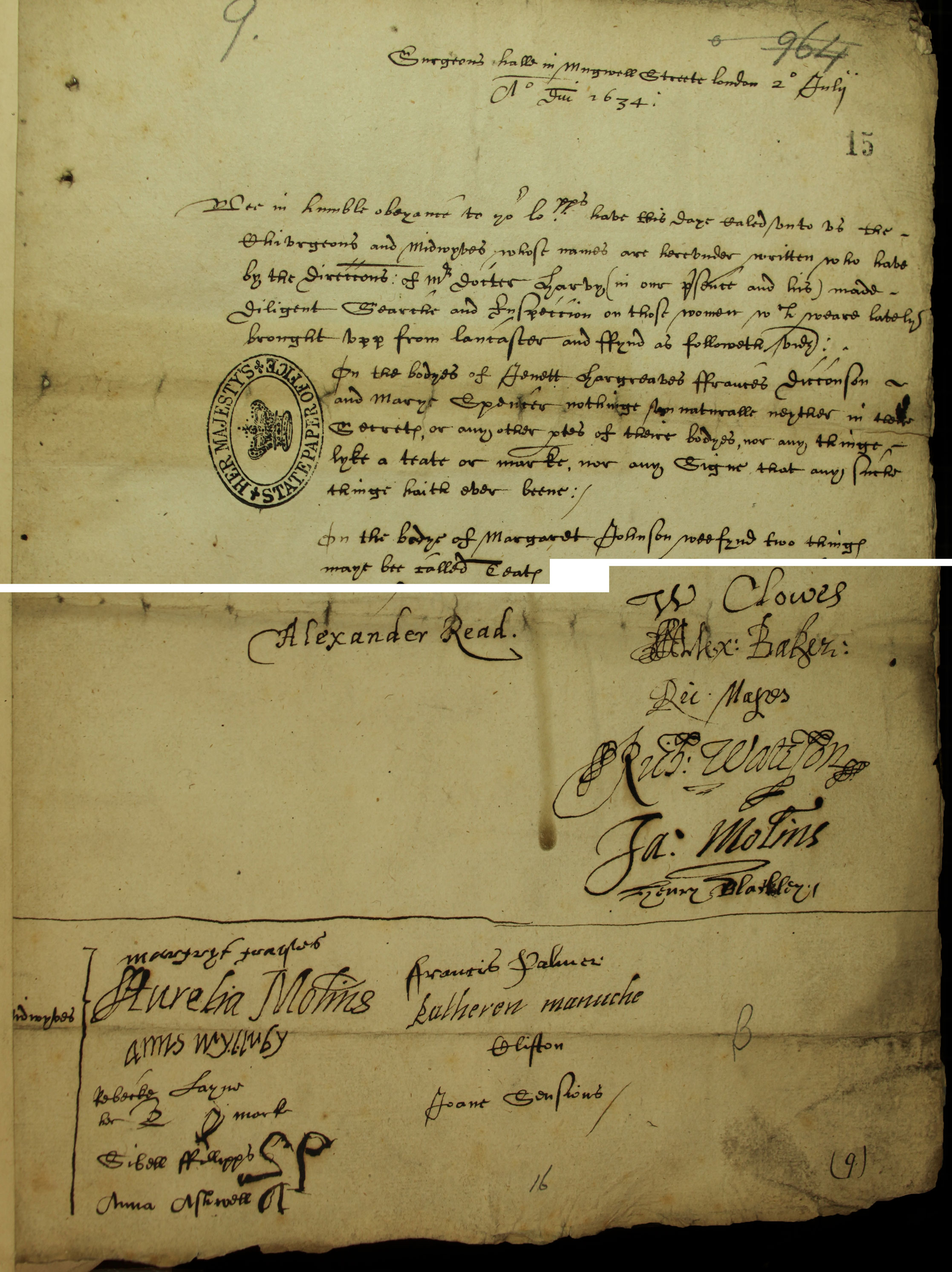 The Lancaster Witches: certificate of surgeons and midwives, SP 16/271 f.15