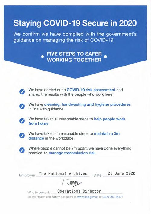 COVID-19 risk assessment certificate.