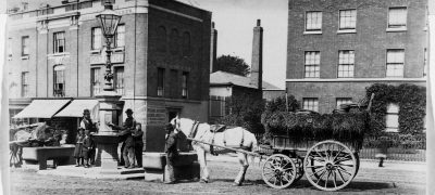 Image of Street scene with carriages