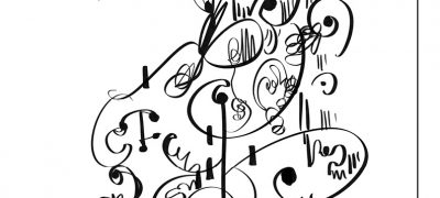 An example of Merlin's automatic drawing with many curls and flourishes. The text reads 'I drew this spontaneously while listening to music. I had headphones in... I wonder if this explains why my mind was drawn to notes/musical score patterns?'