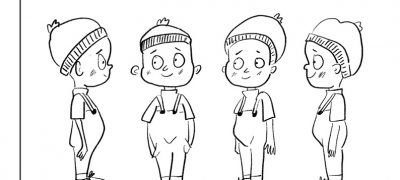 Character design for body. Four illustrations of a young person in a bobble hat and dungarees showing them facing left, then forward, then slightly to the right, then fully facing right.