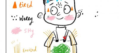 Felt anatomy. Illustration of the character with colour coded scribbles representing different feelings. Blue dots on the head show tiredness. Black dots around the body show worry. Yellow lines across the body show excited. Green scribbles in the tummy show nervous. Pink scribbles on the cheeks show shy. Orange triangles by the eyes show tired. A red heart in the chest shows love.