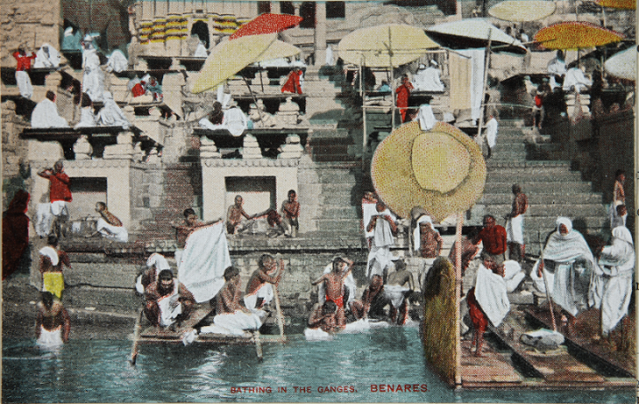 This colour photograph of people bathing in the Ganges in Benares was registered in 1907 in the name of Walter Meakin. It's listed in our catalogue as a photograph and as a 'coloured postcard' (catalogue reference COPY 1/514/30).