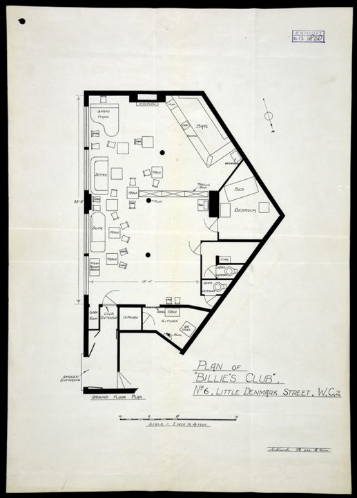 Image of a plan of 'Billie's Club', London, used as an exhibit in a prosecution for conspiracy to corrupt morals (DPP 2/355)