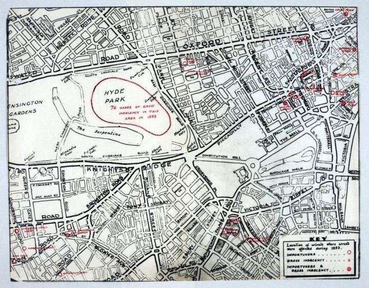 Image of a Metropolitan Police map of Hyde Park, London, showing the location of urinals where arrests were made for importuning and gross indecency during 1953 (HO 345/7)