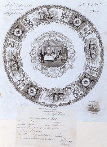 This representation for a plate design (catalogue reference BT 42/4/808), depicting boats and patterns on the rim of the plate and men at a dining table in the middle, registered in 1841, was classified as 'other than paper hangings'. The registration certificate is pasted below the representation.