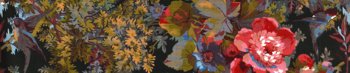 A furniture fabric design of flowers, plant leaves and small birds, registered in 1877 (catalogue reference BT 43/373/313643).