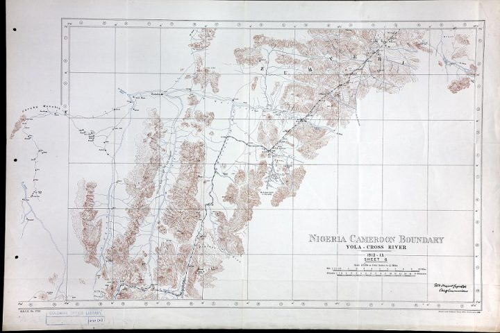 A copy of one of a number of largely colourless Colonial Office maps from 1912-1913 showing the Nigeria Cameroon boundary at the Yola Cross River. The Colonial Office is among the past government departments most likely to have kept records of international boundaries, since transferred to The National Archives.