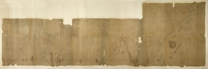 A faded Colonial Office map of the division line between North and South Carolina in 1730 (catalogue reference CO 700/CAROLINA8).