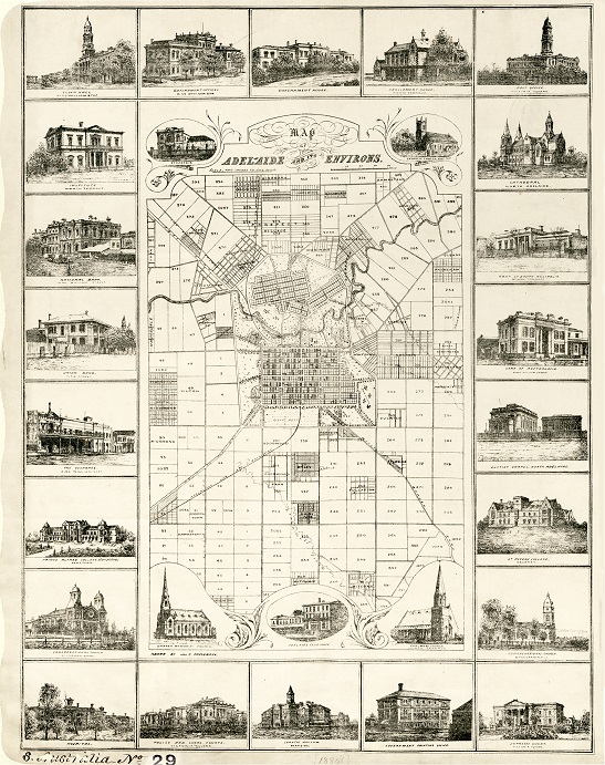 A Colonial Office map from 1880 of Adelaide and its environs, in South Australia, surrounded by images of notable buildings (catalogue reference CO 700/SOUTHAUSTRALIA29)