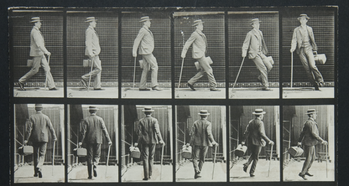 A sequence of ten photographs showing a man in a boating hat, with a cane and a bag, walking and turning. The first five show him side on; the second five show him from behind. They are part of a collection of 'motion pictures' from 1887, registered for copyright by Eadweard Muybridge (catalogue reference COPY 1/383/53).