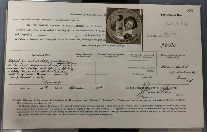 This entry form is dated 15 December 1906 and has a copy of the image being registered attached to the form. The image is a combined photograph and drawing created for an advertisement for Cadbury's Chocolate. (catalogue reference COPY 1/504/220).