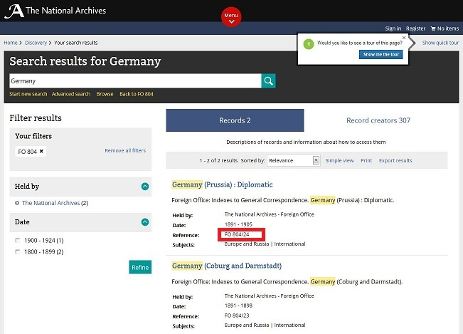 Catalogue search results page showing the results of a search for Germany in FO 804.
