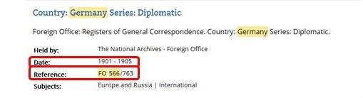 Cut-away of a catalogue search results page showing the reference for the Diplomatic register for Germany.