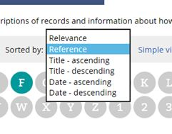 The drop down list on catalogue search results pages that allows you to sort results by reference.