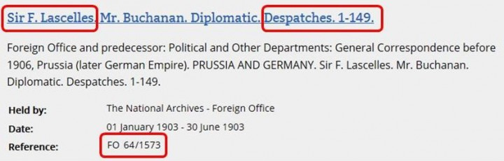 Cut-away from a search results page in the online catalogue showing the document reference for the 1903 volume of correspondence that includes Despatch 63.