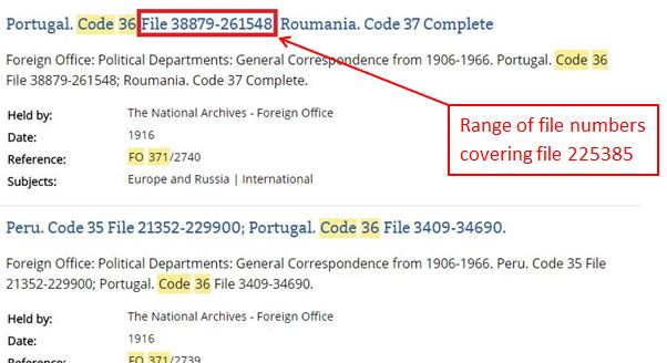 Catalogue search results of a search for Code 36 in FO 371 for 1916.