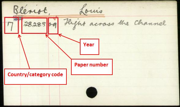 Foreign Office index card for 1909. The index reference is for correspondence about Louis Blériot's flight across the English Channel.