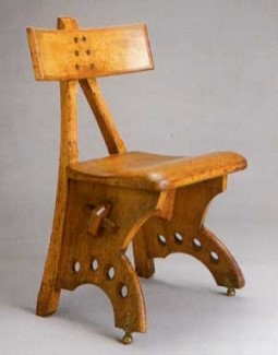 Two images: a photo of the wooden, dining-table-style 'Granville' chair and (above) its representation, a sketch of the same, registered in 1870 (catalogue reference BT 43/58/245877). A typical example of how the registration of the ornamental elements of a design could be used to surreptitiously register the functional elements of the design too.
