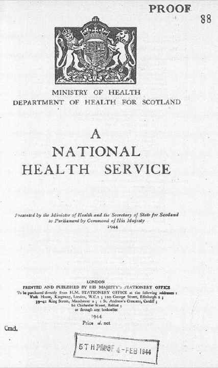 The front page, with the Crown seal at the top, of the draft of the Coalition Government's White Paper on a National Health Service, February 1944 (catalogue reference CAB 66/46/24).