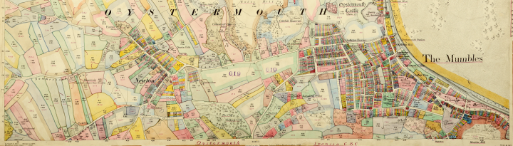 Cross section of a map of the Mumbles district and other districts in Swansea, Wales, marked up for the Valuation Office Survey (catalogue reference IR 131/9/181). The maps shows parcels of land shaded in yellow, green, pink and blue.