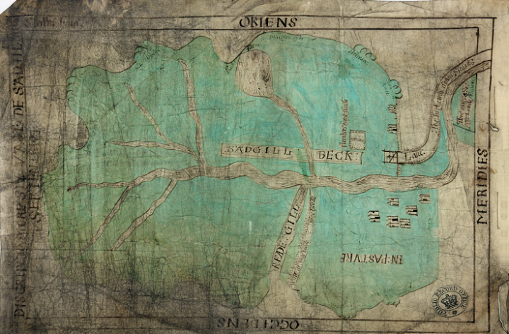 A rudimentary map on parchment depicting a large, round-edged green area with what appears to be the branches of a river coming together in the centre. This is a 16th-century depiction of areas of Nottingham (catalogue reference MPB 1/61).