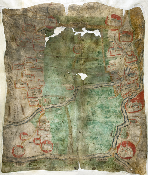 An image of a map on parchment centred around a green area with buildings drawn on either side. It dates from around 1430 and depicts Holland Fen in Lincolnshire (catalogue reference MPCC 1/7).