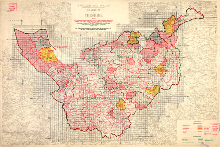 A map sketched professionally and precisely in red over a grid. This is a 1949 map of Cheshire from the Ordnance Survey's Administrative Area Diagrams Archive (catalogue reference OS 76/204).