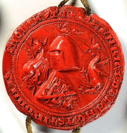 Photograph of a red seal featuring two dragons, used by Henry of Lancaster, Edward I's nephew. The seal is dated 1301. The catalogue reference is E 26/1