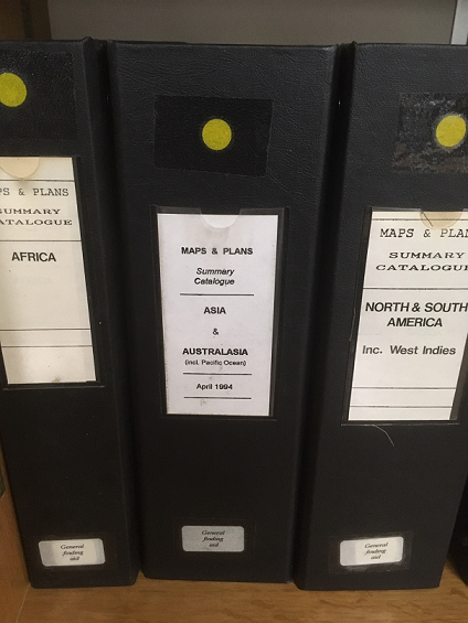 Three volumes of our 'Summary Catalogues', located in the Map and Large Document Reading Room at The National Archives in Kew.