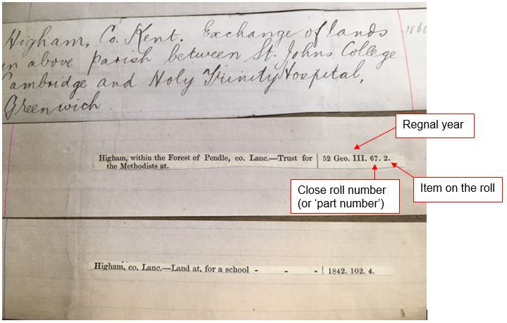 The index entry for Higham within the Forest of Pendle (in the county of Lancashire) indicates that the deed was enrolled in close roll no.67 for 1812 (the 52nd year of George III's reign) and that the enrolled deed will be numbered as item 2 on the roll itself.