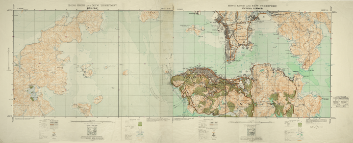 A colourful geographic military survey map of Hong Kong from 1932 (catalogue reference WO 78/5333).
