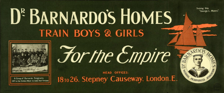 Text reading 'Dr Barnardo's Homes / Train boys & girls / For the Empire / Head Offices: 18 to 26, Stepney Causeway, London E.' The text sits alongside a round logo for 'Dr Barnardo's Homes' featuring a small illustration of a boy in a sailor costume, a monochrome photograph of 'A group of Barnardo emigrants', and an illustration of a ship.
