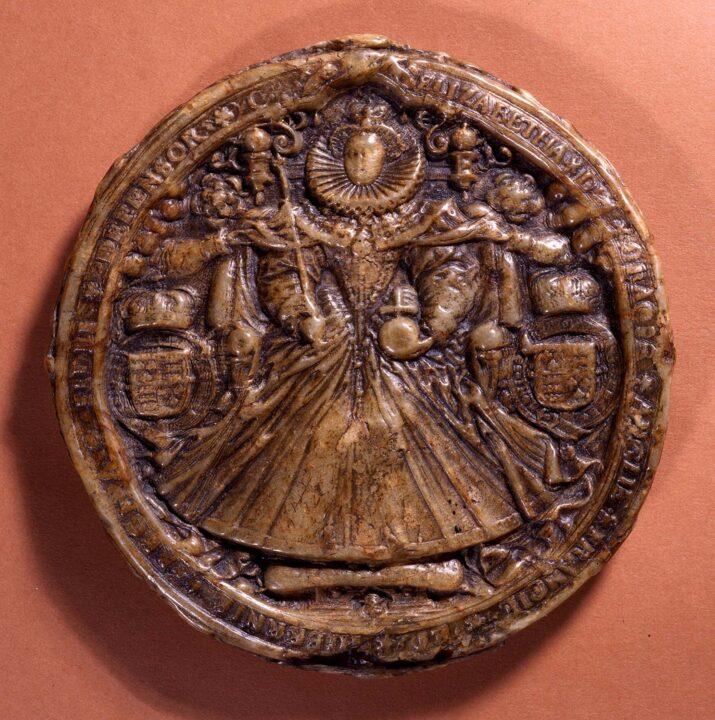 Round wax seal depicting Queen Elizabeth I.