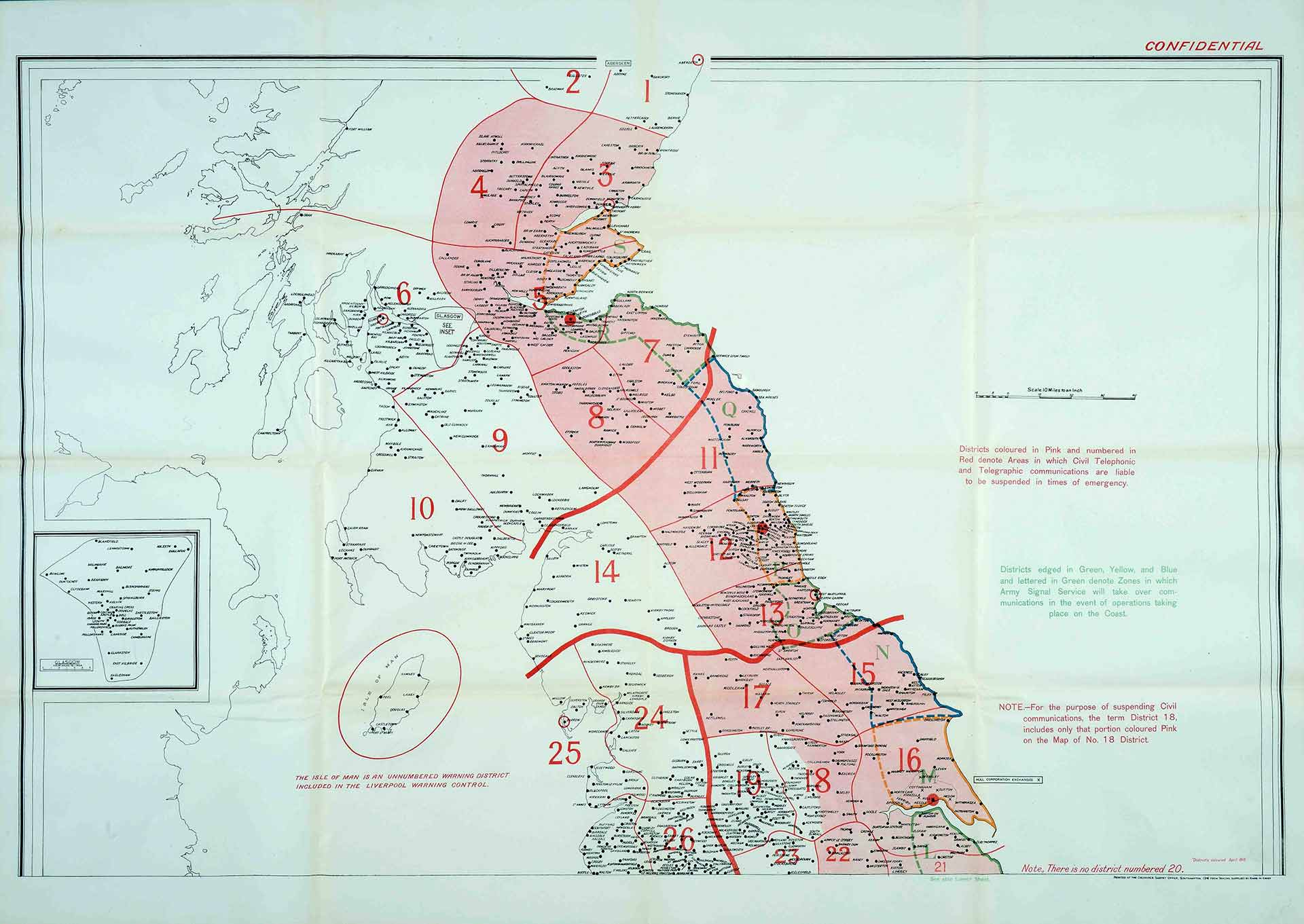 map indicating emergency communication suspension areas(cat ref:mun 4/5355)
