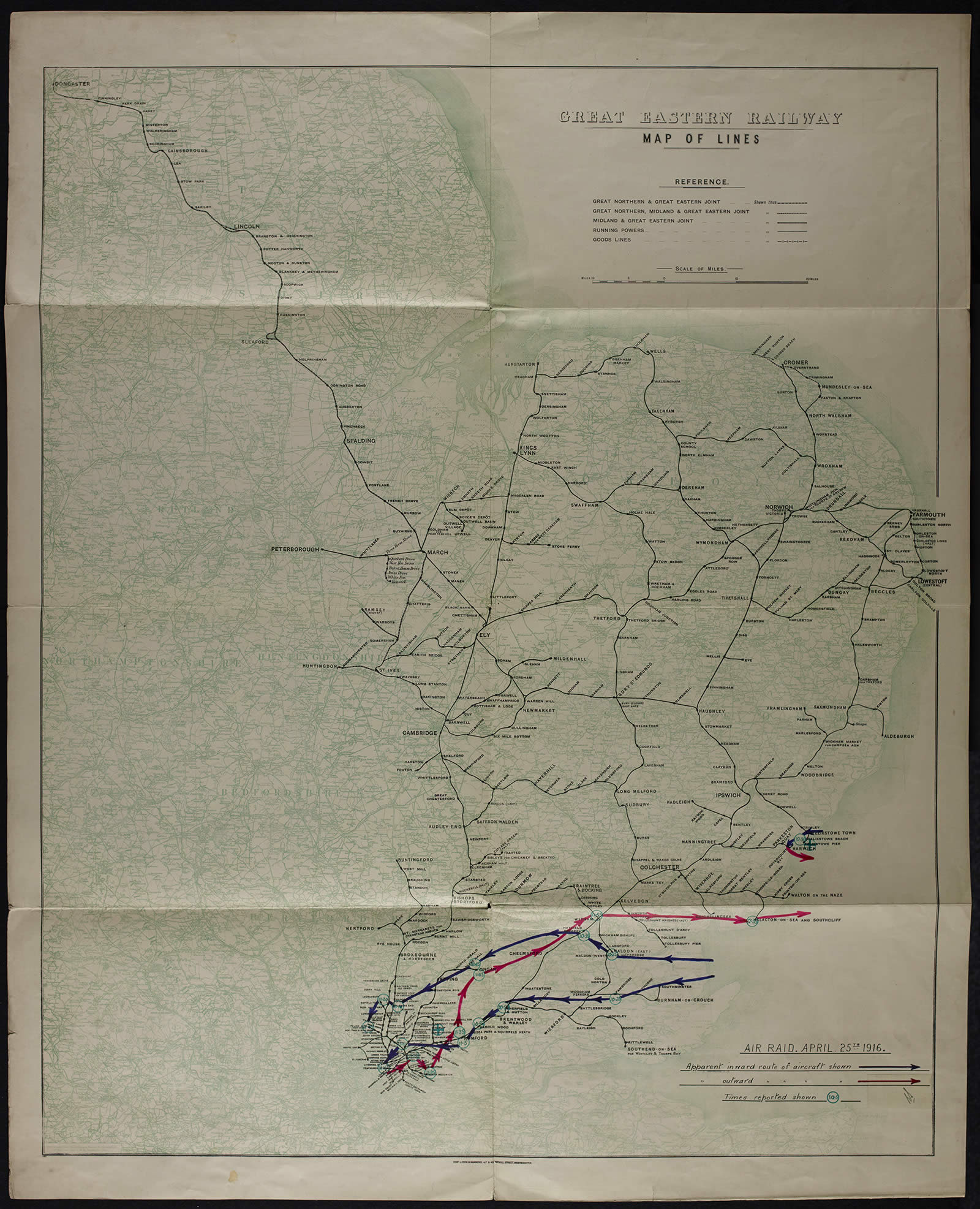 Image of a map of East Anglia, showing Great Eastern railway lines and the flight paths of enemy raiders on 25 April 1916