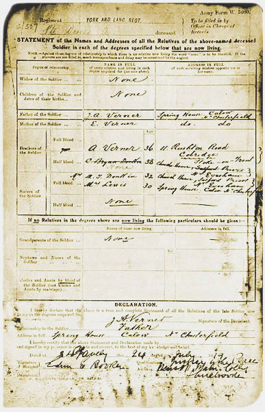 Service record of a First World War soldier