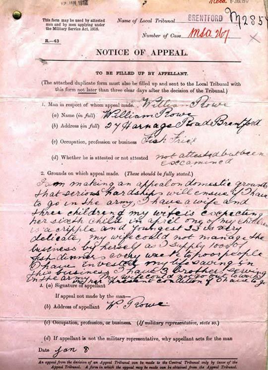 Appeal for exemption from First World War military service