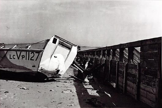 Landing craft stuck on an obstacle