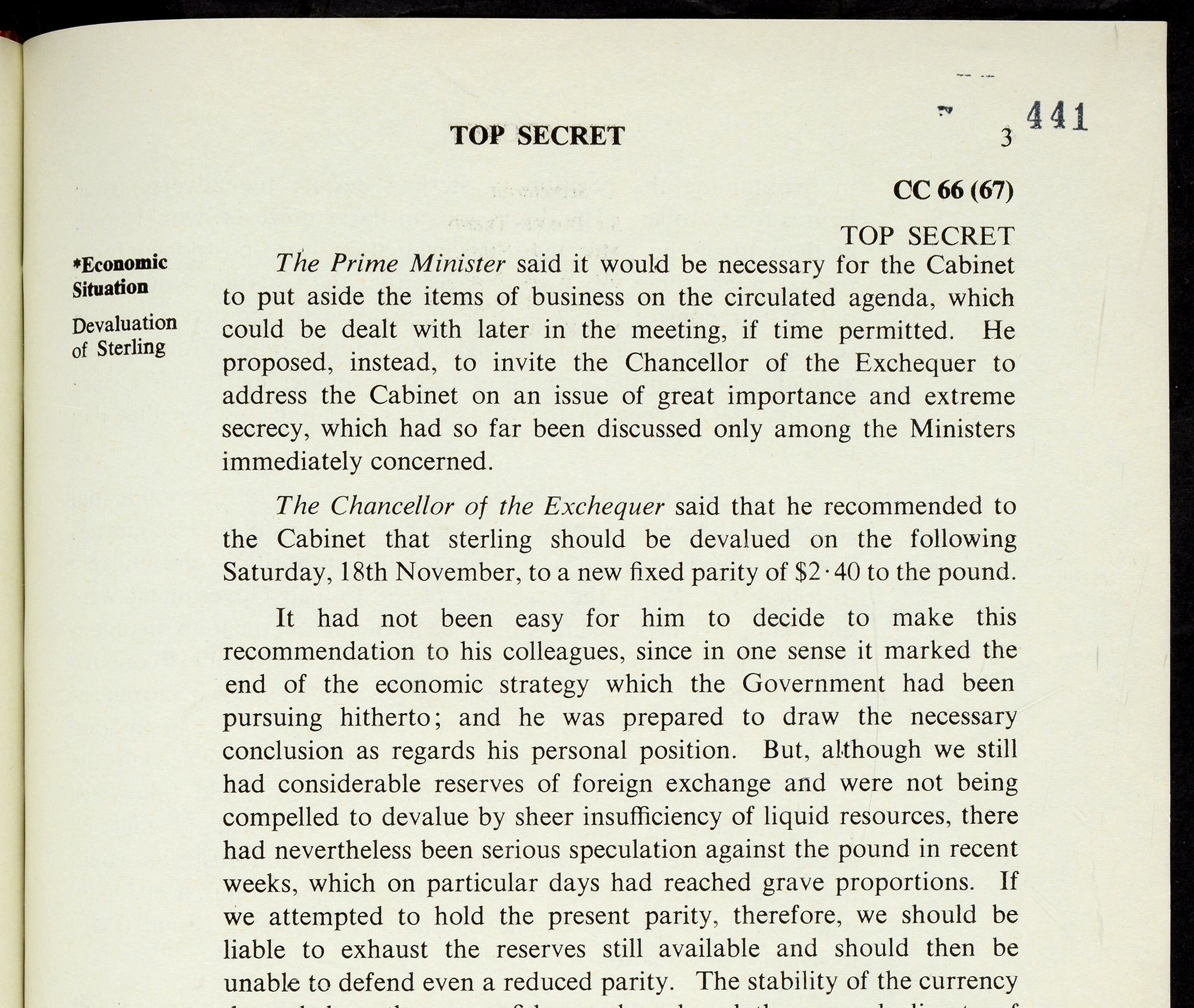 An extract from the Cabinet minutes, 16 November 1967