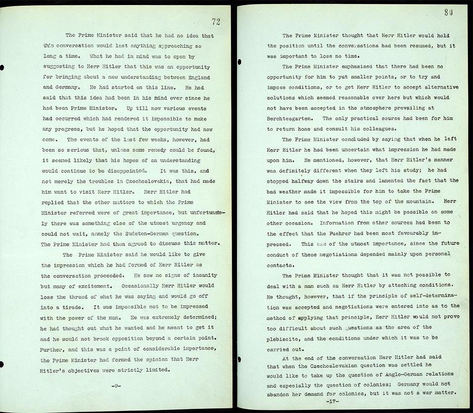Chamberlain's account of his first meeting with Hitler