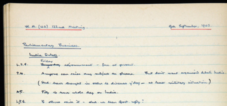 Cabinet Secretary's notebook - Sir Norman Brook's notes on 9 September 1942 reveal exchanges between Winston Churchill (abbreviated as 'PM') and his ministers.