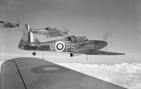 Boulton Paul Defiants - fighter aircraft with rear-facing gun turrets. These were used on front-line operations until 1942.