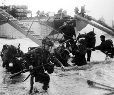 Royal Marine commando troops wade ashore in the D-Day Normandy landings in June 1944.