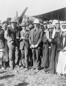 TE Lawrence (third from left) with delegates from the Cairo Conference in Amman in April 1921.