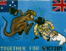 'Together For Victory' - A Second World War poster depicting the allegiance of Australia and Britain against a common enemy.