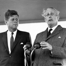 President Kennedy and Harold Macmillan attend a press conference after Kennedy's arrival at Gatwick Airport in June 1963.