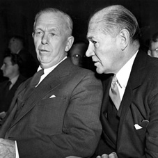In January 1948 Secretary of State, George C Marshall, (left) and US Ambassador to Britain, Lewis Douglas, wait to testify before the Senate Foreign Relations Committee on the 'Marshall Plan For Aid To Europe'.
