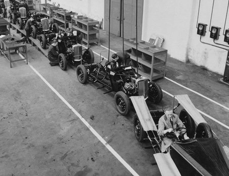 Cars on the production line at the Talbot factory in London in the 1930s.