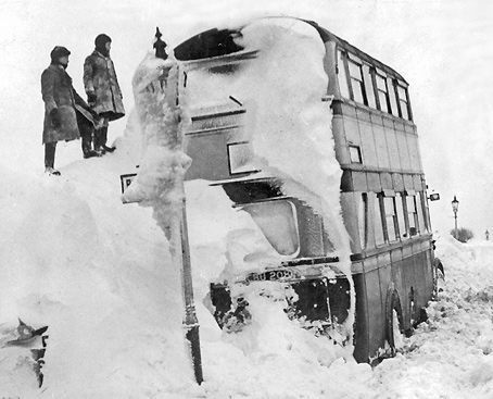A snowbound bus near Oldham in February 1947 - the extreme weather conditions reflect post-war austerity.